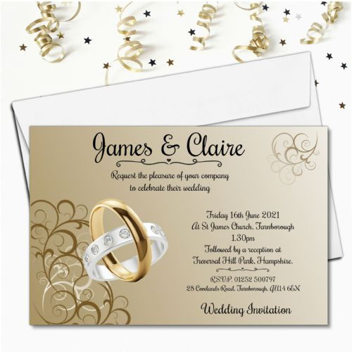 10 Personalised Gold and Silver Rings Wedding Invitations Day or Evening N61